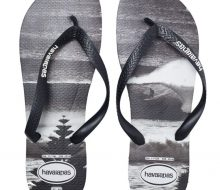 HAVAIANAS Mens Havaianas Top Print Lennox Thong Black Thongs