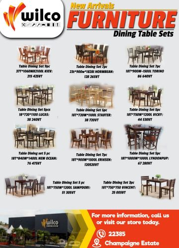 Wilco New Arrivals Jan19 Dining Table Sets